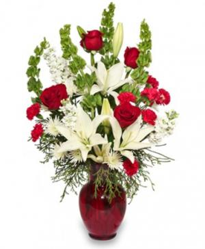 Classical Christmas Floral Arrangement in Plymouth, MA | CAROLE'S FLOWERS AND GIFTS