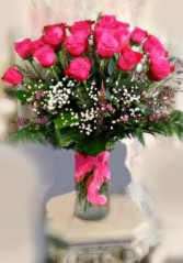 24 Long Stem Hot Pink Roses In Vase