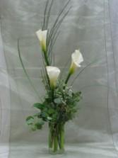 Classy callas vase arrangement