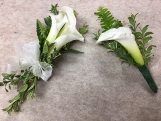 Classy Callas Wrist Corsage and Matching Boutonniere