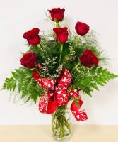 Classy Half Dozen Red Roses Rose Arrangement