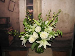 Classy In White  in Stevensville, MT | WildWind Floral Design Studio
