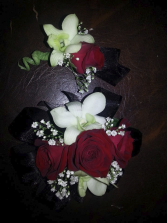 Classy Red & White Corsage & Boutonniere
