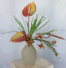 Clay Vase Tropical Silk/Permanent Arrangement
