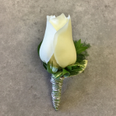 Clean Cut- White Boutonniere