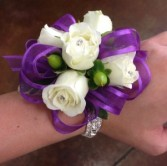 CLEAN ROSE BOW CORSAGE  (CALL WITH COLOR CHOICES)