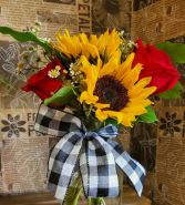 Clear Mason Jar Flowers vary each week