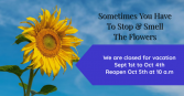 closed for vacation closed Sept 1 to Oct 4