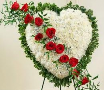 Closed Heart w/ Red Rose Spray Standing Sympathy Flower