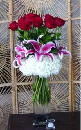 Cloud Nine with Lillies Red Rose Arrangement in Charlotte, NC | Plush Blooms of Charlotte