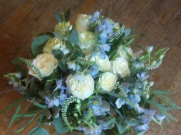 Coastal creams and blues wedding bouquet