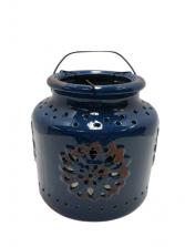 Cobalt Blue Ceramic Candle Holder - Short