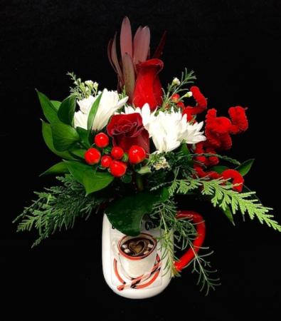 Cocoa Mug Christmas Floral Red Rose Holiday Design