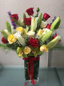 Lucky  Designer's Mix of Roses and Lilies