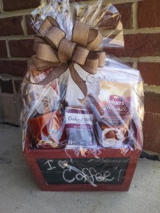 Coffee Lovers Basket coffee, cookies, chocolate, mug, tin sign etc