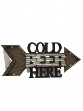 Cold Beer Here Wooden Sign