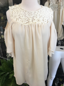 Cold Shoulder cream blouse SM size