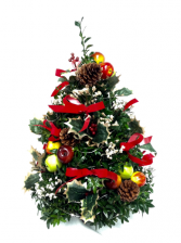 Colonial Boxwood Tree With Lights