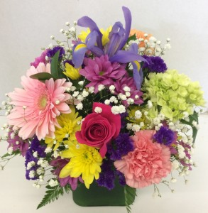 Color my World Cube fresh flower centerpiece