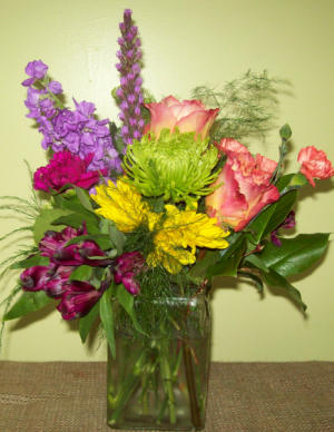 Color My World Rectangle vase with bold colored mixed flowers in Cleveland, GA | Artistic Florist