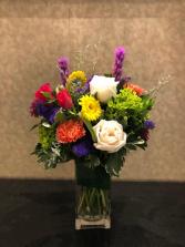 Color Rush Rectangle Vase Arrangement