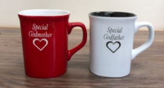 Colored mugs Godmother and godfather gifts