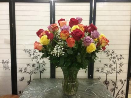Colored Rose Arrangement Rose arrangement