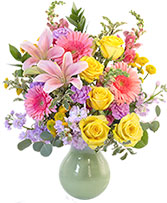 Colorful Array Flower Arrangement in Modesto, California | JANET'S FLOWERS & WEDDING CHAPEL