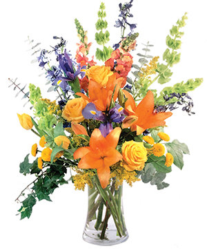 Colorful Balance Flower Arrangement in Cedar City, UT | Boomer's Bloomers & The Candy Factory