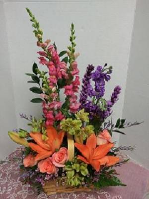 Colorful Basket Basket Arrangement in Tampa, FL   Blooms & Bouquets