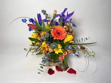 Colorful Birch Cube Flower Arrangement