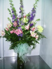 Colorful Birthday Celebration Vase of spring flowers