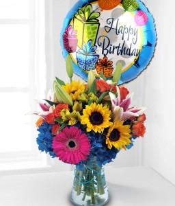 Colorful Birthday Flower and Balloon Arrangement  in Burbank, CA | MY BELLA FLOWER