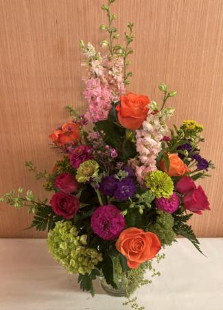 Colorful Blooming Vase Arrangement