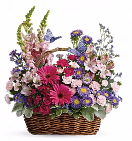 Colorful Blooms Basket Arrangement