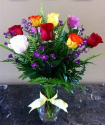Mom's Colorful Blooms of Roses Dz Stem Multi Color Roses Exclusively at Mom & Pops