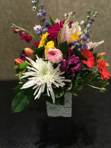 Colorful Blooms rectangle vase