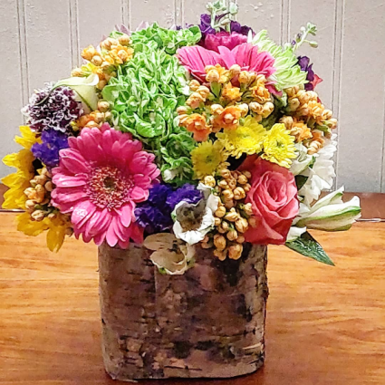 Colorful Bouquet in Birch Birthday