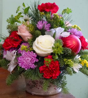 Colorful Christmas Christmas Centerpiece in Montgomery, NY | MONTGOMERY FLORIST
