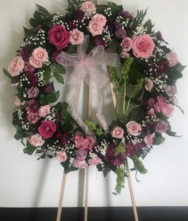 """COLORFUL CIRCLE OF LIFE WREATH STANDING FUNERAL PC ON A 5'-6"""" STAND"""