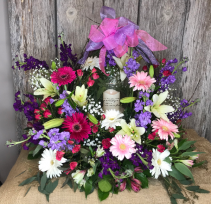Colorful Comfort Sympathy Arrangement with Lantern