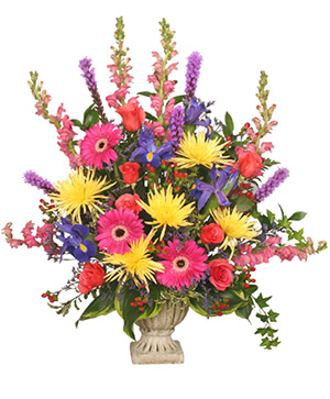 COLORFUL CONDOLENCES TRIBUTE  Funeral Flowers in Cary, NC | GCG FLOWERS & PLANT DESIGN