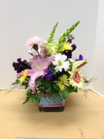 Colorful Cube Vase Arrangement
