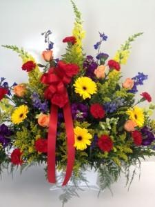Colorful Elegance Basket Arrangement Funeral Flowers