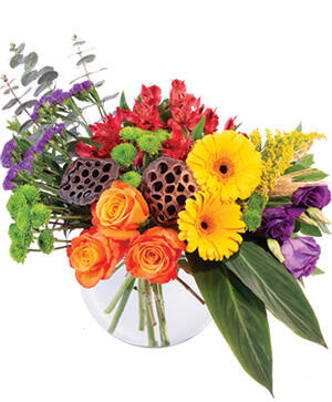Colorful Essence Floral Arrangement in Oakland, ME | VISIONS FLOWERS & BRIDAL DESIGNS