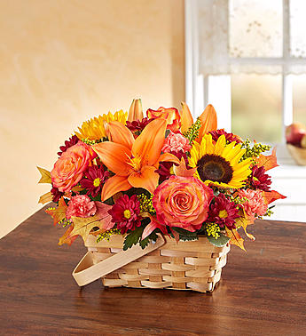 Colorful Fall Basket Arrangement