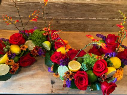 Colorful Floral & Fruit Centerpiece