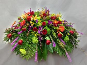 Colorful Garden Casket Flowers