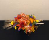 Colorful Harvest Basket Arrangement
