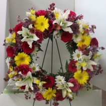 Colorful Wreath Standing Spray